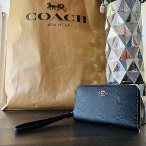 New Coach 58053 Crossgrain leather wallet wristlet